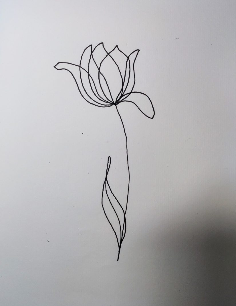 One line drawing flower 2021040602 scaled - Practice One Line Draw Flowers and Others