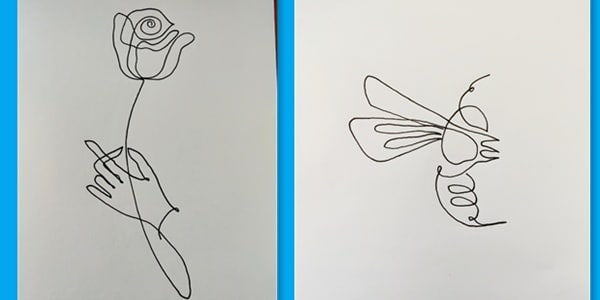 One line drawing hand and rose-20210401022