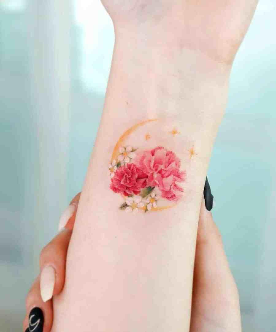 Carnation Tattoo 2021061501 - January Birthday Flower Tattoo - Carnation Tattoo
