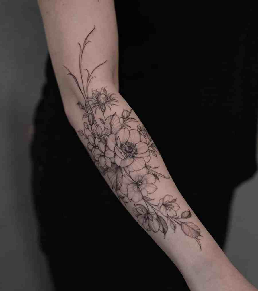Floral Tattoo 2021061012 - 10+ Floral Tattoo Designs to Give You Warmth