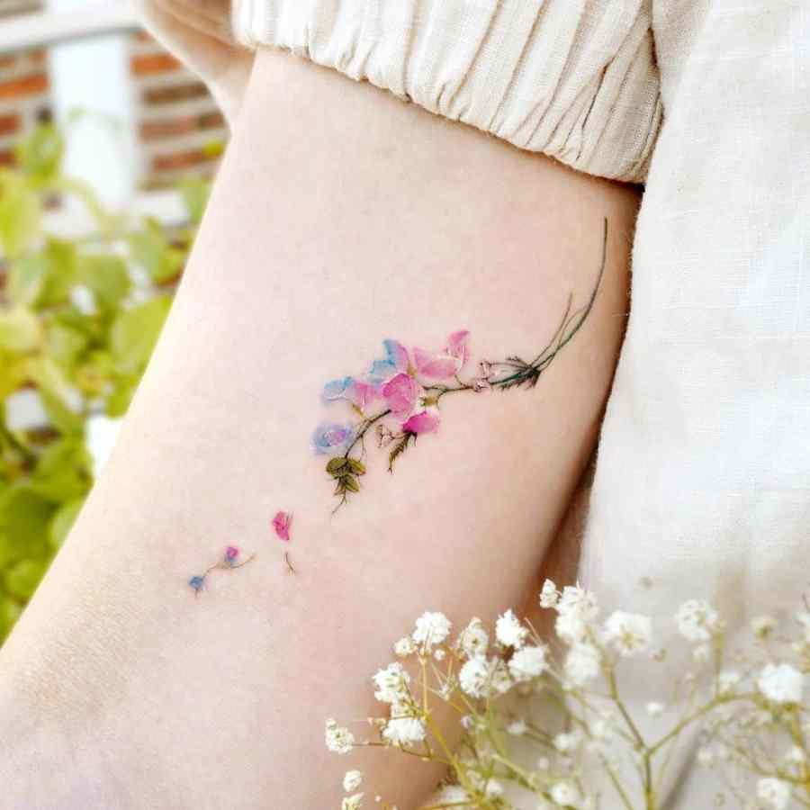 April Birth Flower Tattoos 2021072105 - April Birth Flower Tattoos: Daisy and Sweet Pea Tattoos