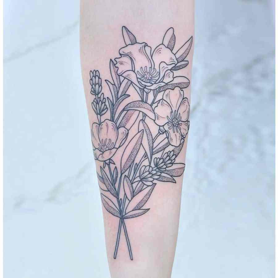August Birth Flower Tattoos 2021072903 - August Birth Flower Tattoos: Poppy and Gladiolus Tattoos
