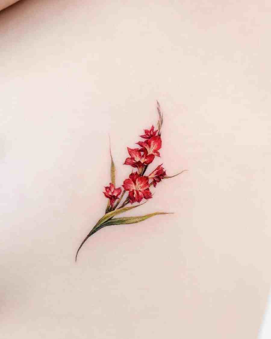 August Birth Flower Tattoos 2021072906 - August Birth Flower Tattoos: Poppy and Gladiolus Tattoos