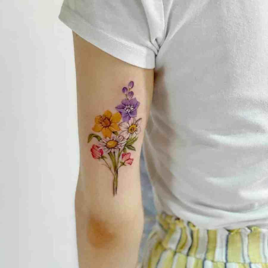 Daffodil Tattoo 2021070401 - March Birth Flower Tattoo - Daffodil Tattoo