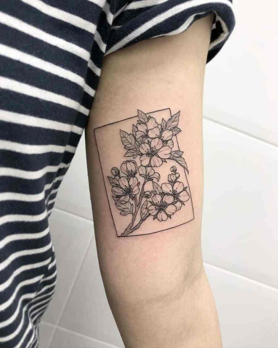 May Birth Flower Tattoos 2021072405 - May Birth Flower Tattoos: Bellflower and Hawthorn Tattoo