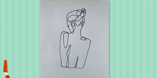 One line drawing Female Back-2021070703