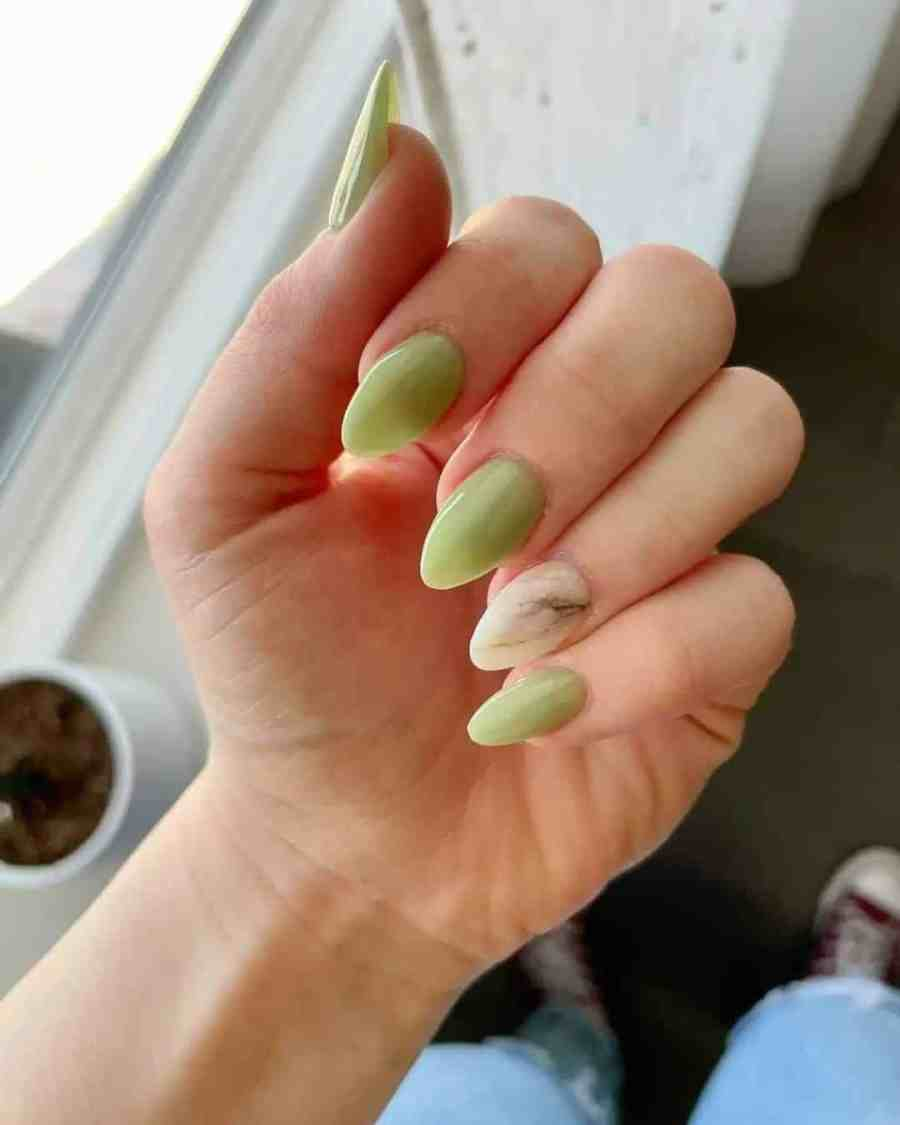 Green Nails 2021082207 - The Most Fashionable Green Nails to Impress You
