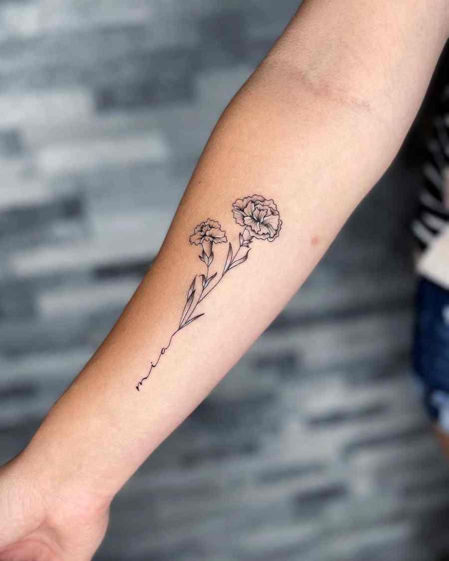October Birth Flower Tattoos 2021080202 - October Birth Flower Tattoos: Marigold and Cosmos