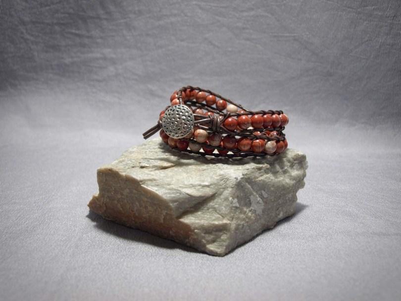 3 wrap bracelet 8mm Red Creek Jasper