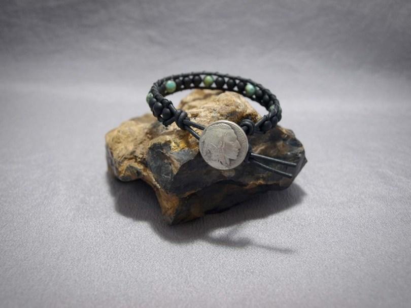 Single wrap bracelet 6mm Matte Black Onyx & African Turquoise