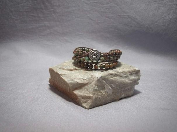 3 wrap bracelet 6mm Green Opal,