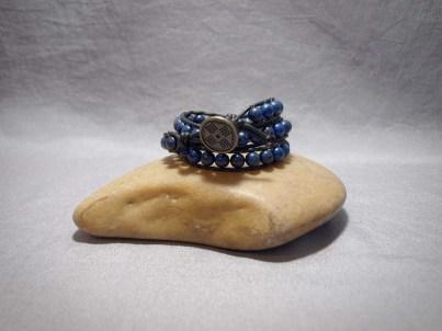 3 wrap bracelet 8mm Lapis