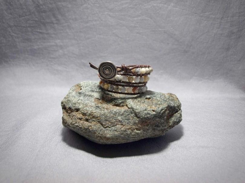 3 wrap bracelet 6mm Ocean Jasper