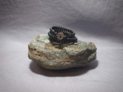 3 wrap bracelet 4mm Onyx