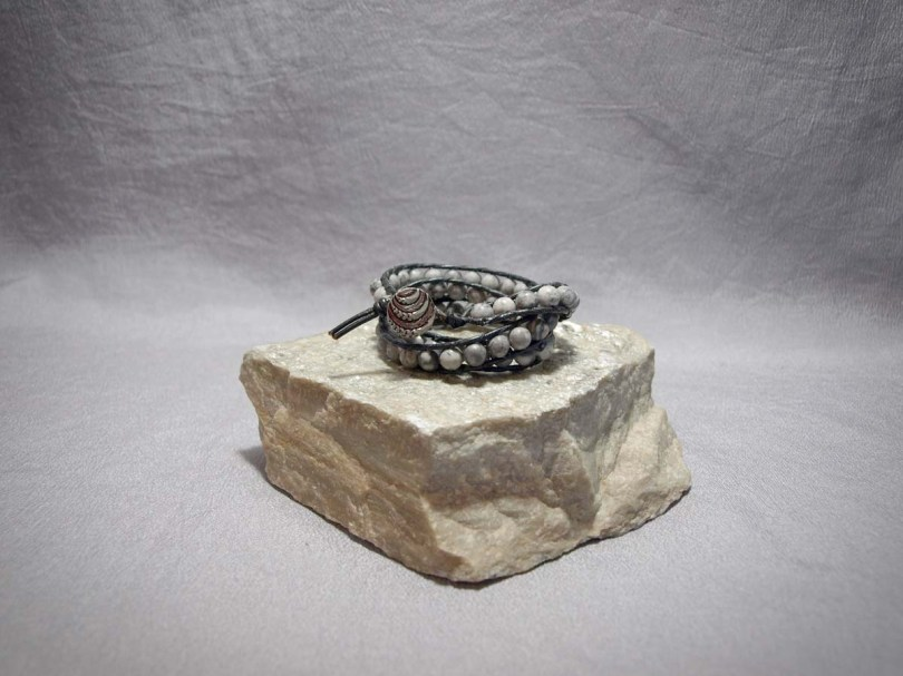 3 wrap bracelet 6mm Silver Pasco Marble