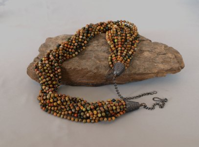 15 Strand Picture Jasper Necklace Adjustable 22.5 in. - 26 in.
