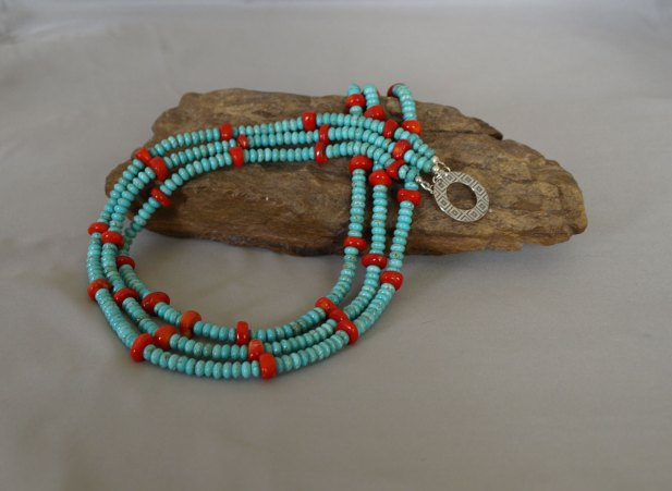 3 Strand US Turquoise & Coral Necklace 20 in.