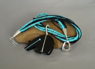 9 Strand US Turquoise & Charlette seed beads Necklace with Sterling Silver Wrapped Fetish Bear 21.5 in