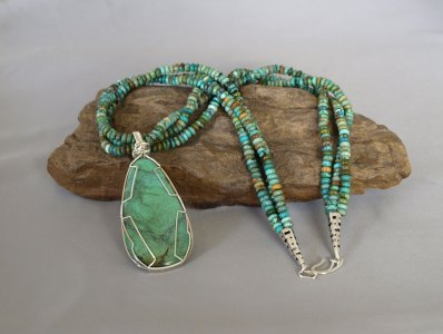 3 Strand Green Turquoise Necklace with Removable Hand Wrapped Pendent 23.5 in.