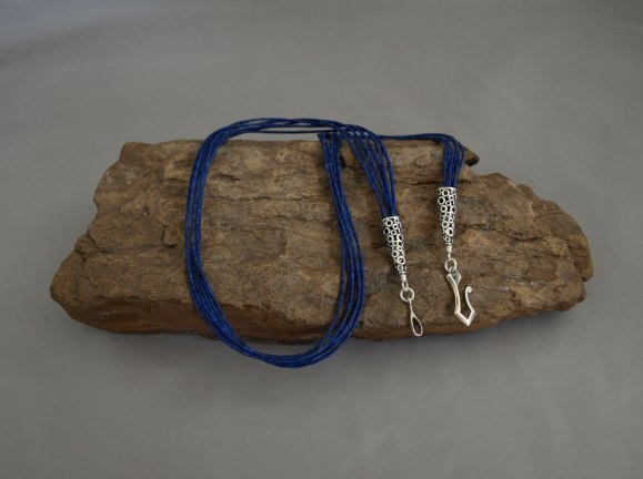 6 Strand Matted Lapis Necklace 23 in.
