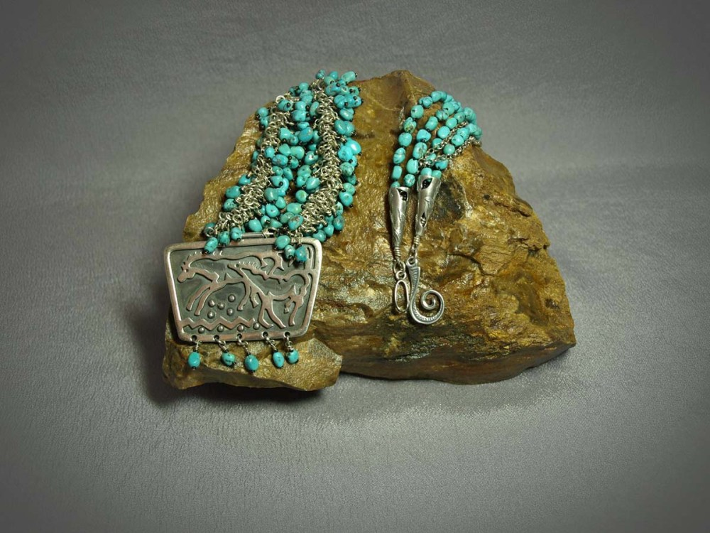 3 Strand Necklace US Turquoise, Sterling silver chain & horse pendent