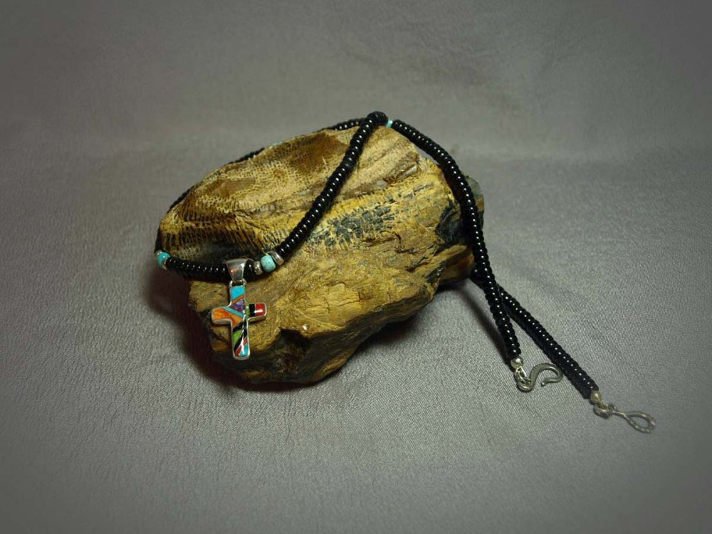 Single Strand Necklace Black Jade, Turquoise & Sterling silver Cross Inlay