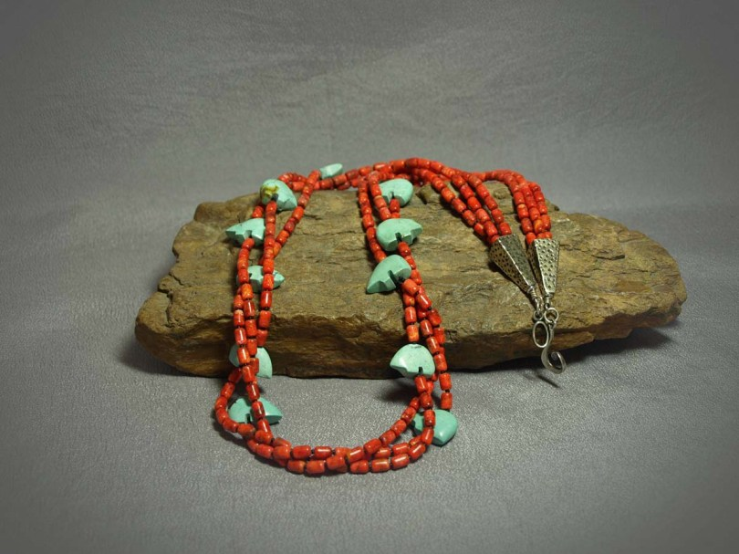 3 Strand Necklace with Apple Coral and Turquoise Fetesh Bears