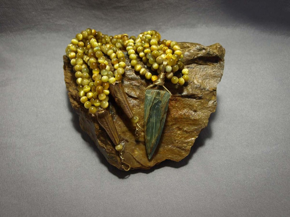 5 Strand Necklace Yellow Tiger Eye & Blue Calcite pendent