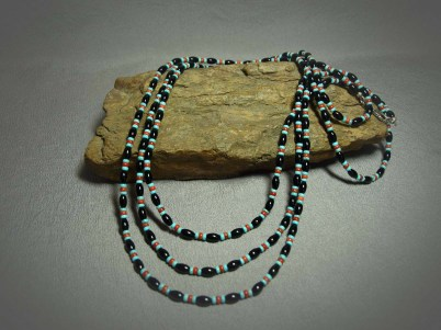 Single Strand Necklace Onyx, Apple Coral & Turquoise
