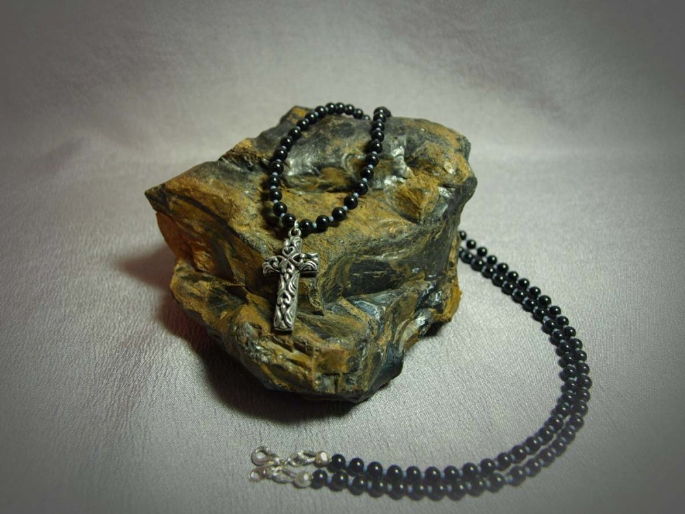 Single Strand Necklace 4MM Round Onyx & Sterling Silver Cross