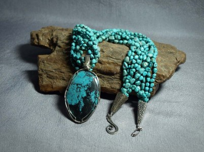 5 Strand Necklace Turquoise Nuggets & Turquoise Stone pendent