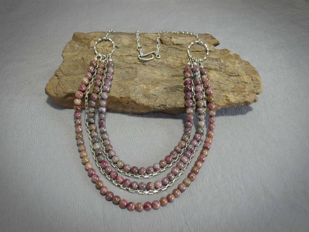Tourmaline and sterling silver chain