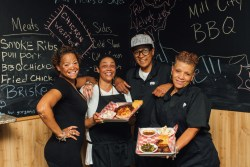 Renay Wolterding (left) and her crew at Mill City BBQ & Brew