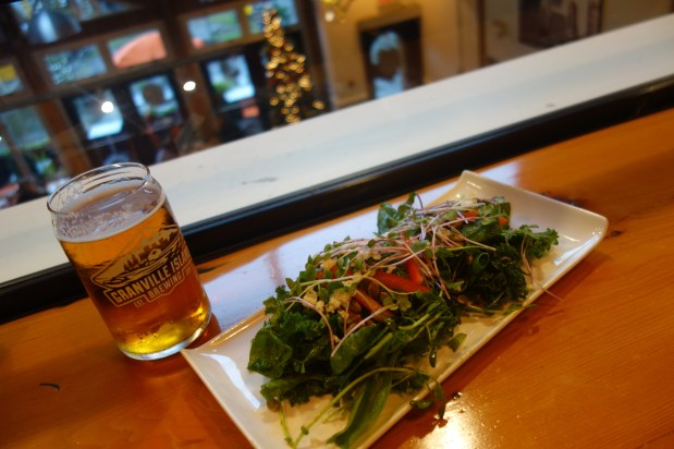 Salad and local Cypress Honey Lager for lunch