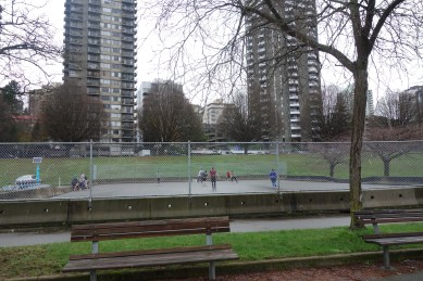 Practicing ice hockey in Vancouver