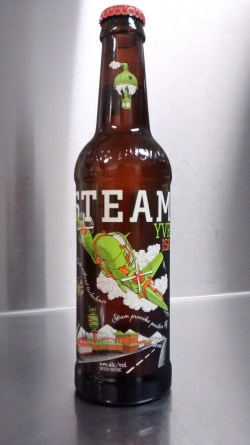Locally brewed Vancouver 'Steamworks' ale - love the art