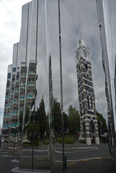 New Plymouth's Govett-Brewster Art Museum with the clock tower reflected in it