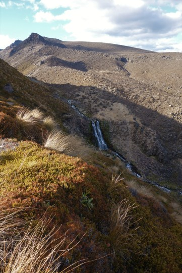 Day 2 - the view of the waterfall from the Oturere camp. We bathed in the upper pools.