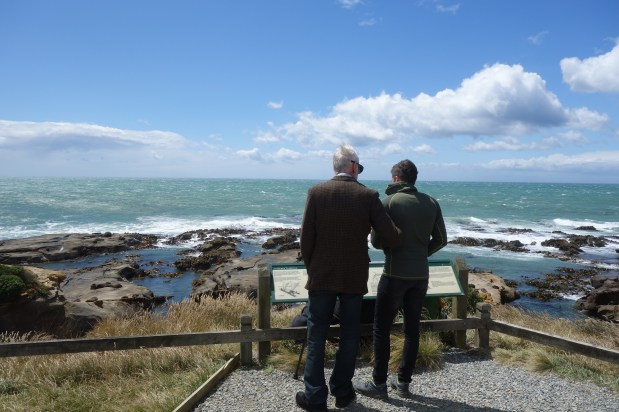 Dave and George at Shag Point on an extremely windy day