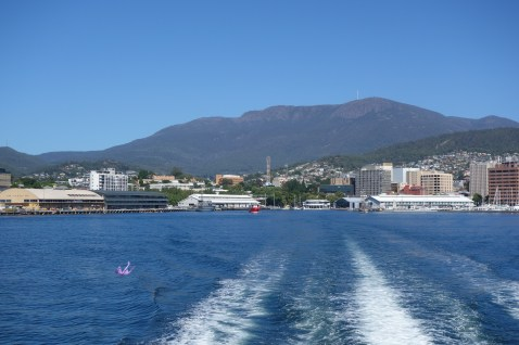 On the ferry to MONA, looking back at Hobart wharf