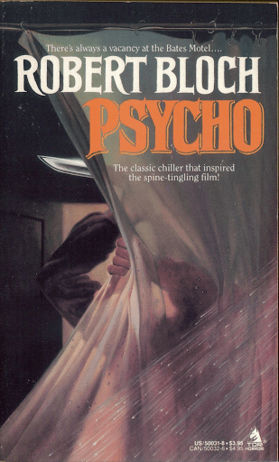 Cover of Psycho; shows an assailant with a knife behind a shower curtain