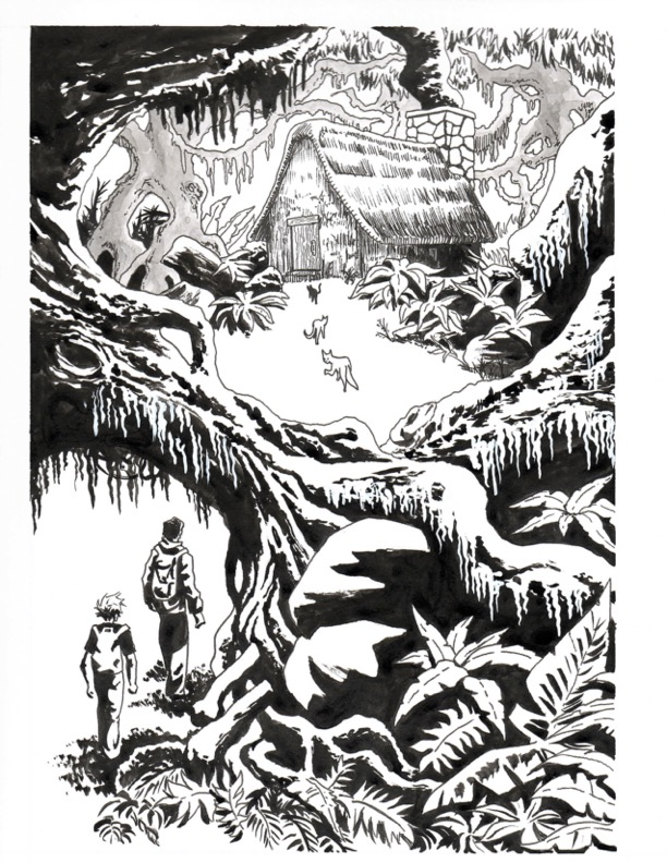 Source illustration for the cover of Cats of the Pacific Northwest by J.W. Donley. Image is a black and white illustration of two hikers with backpacks crossing underneath a fallen tree. Three large wild cats in the distance are slinking away, though one is looking back to study the hikers. The cats and hikers are all headed to a small cabin in the woods.