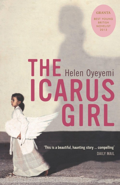 Cover of The Icarus Girl by Helen Oyeyemi. Cover shows a young Black girl in a white and cream colored dress carrying a very large all-white bird or angel wing under her arm. Her larger-than-life shadow is cast on a cream-colored wall in the background.