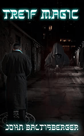 A man in a long coat and yarmulke stands in a dark underground tunnel facing away from us. He stands on a glowing magical symbol. There is the image of another man in a cloak, hood up, face obscured, hovering in the background.