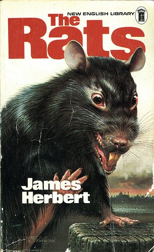 Cover of The Rats by James Herbert. Cover shows an evil looking rat with bloodshot eyes displaying its teeth.