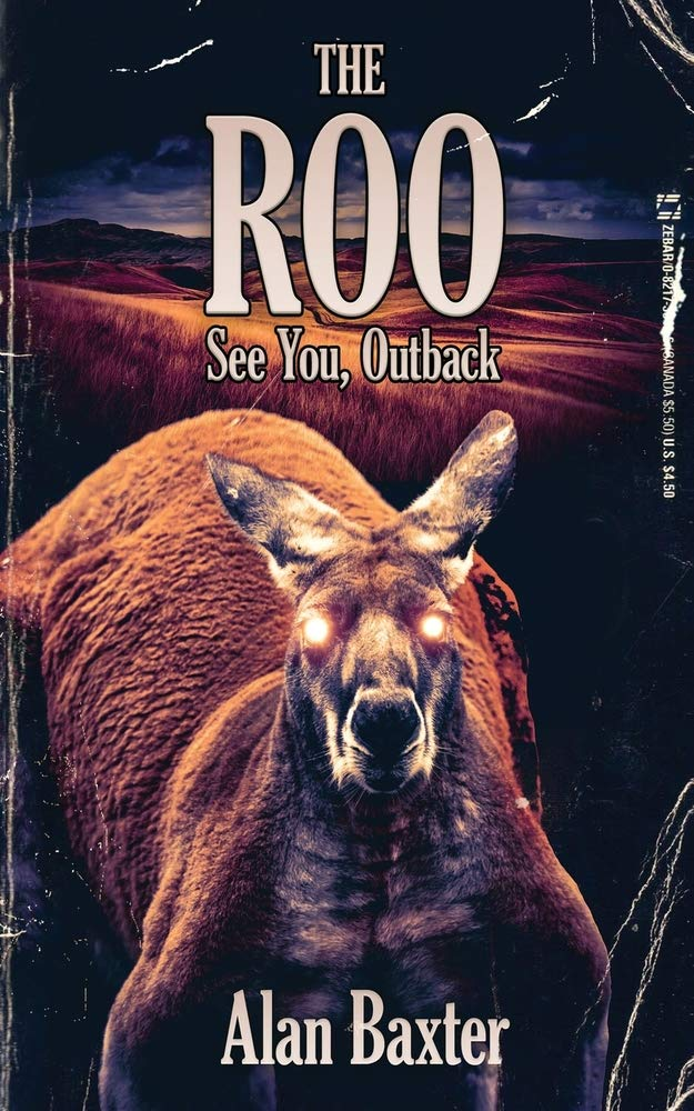 Cover of The Roo by Alan Baxter. Cover shows a kangaroo with well defined, very strong chest and shoulder muscles and glowing orange eyes.