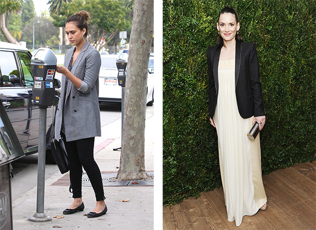 What to wear with a blazer jacket: Jessica Alba; Winona Ryder