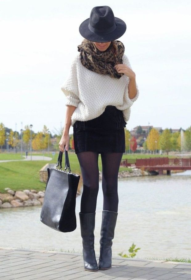 Mini skirt with black boots