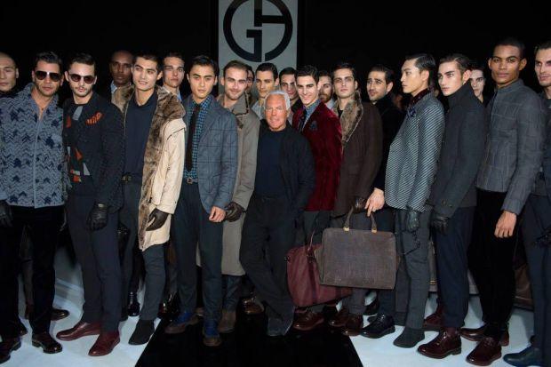 Giorgio Armani with male models