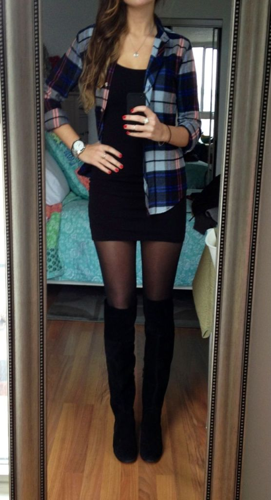 Boots and body tights with mini skirts